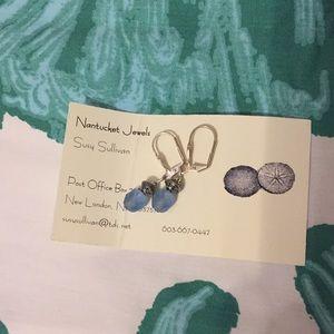 Blue beaded earrings, Nantucket Jewels